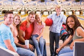 family at bowling ally