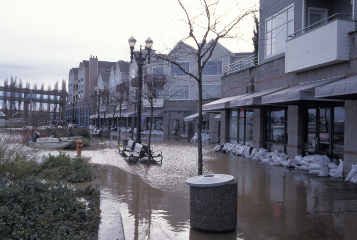 image of business strip mall being flooded