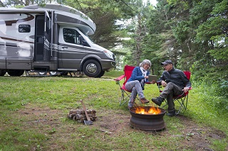 image of retired couple camping with RV