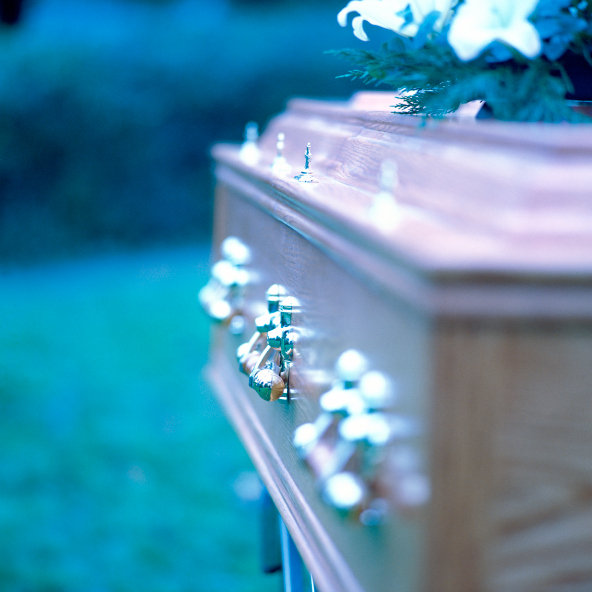 image of casket at funeral